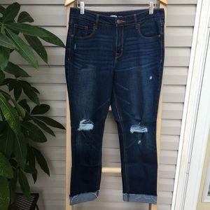 Old Navy Boyfriend Straight Jeans distressed dark